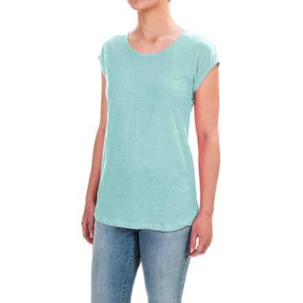 Jones & Co Rolled Dolman Sleeve Shirt - Scoop Neck, Short Sleeve (For Women) in Aqua Marine - Closeouts