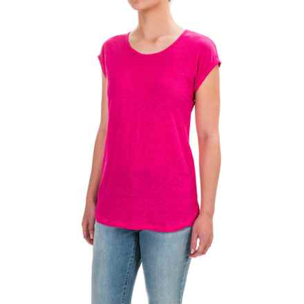 Jones & Co Rolled Dolman Sleeve Shirt - Scoop Neck, Short Sleeve (For Women) in Peony - Closeouts