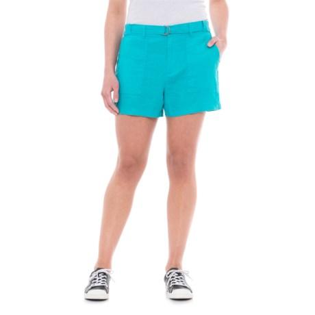 Jones New York Belted Linen Shorts (For Women) in Aquarium
