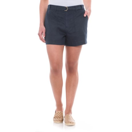 Jones New York Belted Linen Shorts (For Women) in Navy Seas