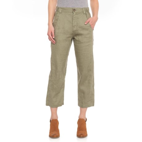 e8f5e31e75 Jones New York Camel Solid Crop Pants - Linen (For Women) in Olive