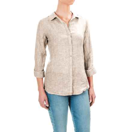 Jones New York Cross-Dye Linen Shirt - Roll-Up Long Sleeve (For Women) in Light Tan - Overstock
