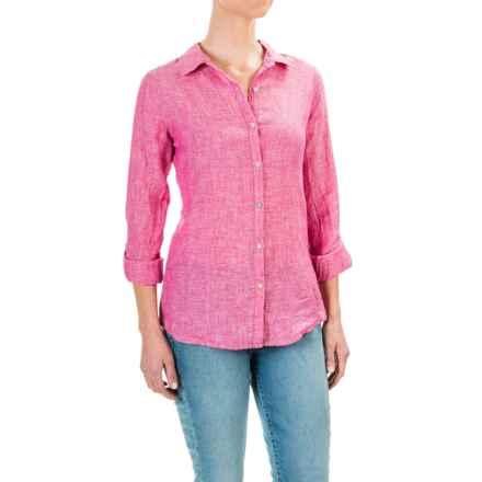 Jones New York Cross-Dye Linen Shirt - Roll-Up Long Sleeve (For Women) in Raspberry - Overstock