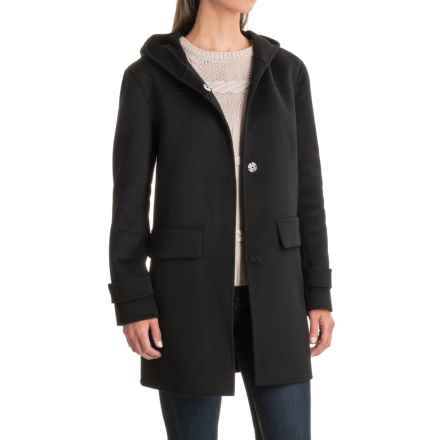 Jones New York Double-Face Hooded Coat - Wool Blend (For Women) in Black - Closeouts