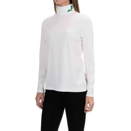 Jones New York Embroidered Holly Leaf Turtleneck - Cotton-Modal, Long Sleeve (For Women) in White - Closeouts