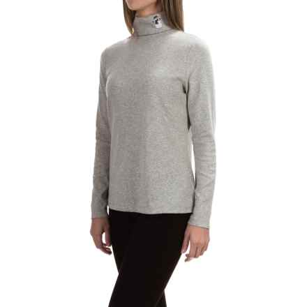 Jones New York Embroidered Mister Snowman Turtleneck - Cotton-Modal, Long Sleeve (For Women) in Heather Grey - Closeouts