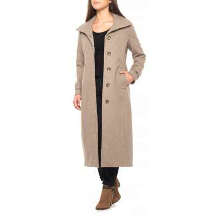 Jones New York Fly Front Stand-Up Collar Long Coat - Wool (For Women) in Wild Rice - Closeouts
