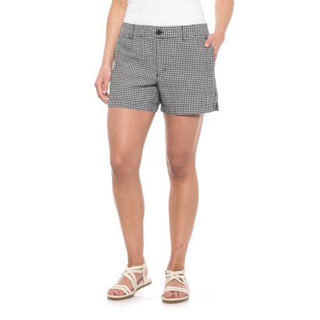 Jones New York Gingham Check Shorts - Linen-Cotton (For Women) in Black/White Gingham