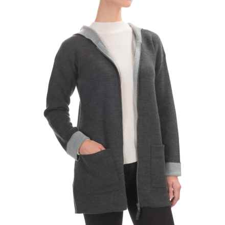 Jones New York Hooded Cardigan Sweater - Merino Wool, Zip Front (For Women) in Charcoal Heather/Medium Heather Grey - Closeouts