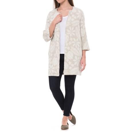 Jones New York Jacquard Open-Front Jacket - Linen-Cotton, 3/4 Sleeve (For Women) in Ecru/White