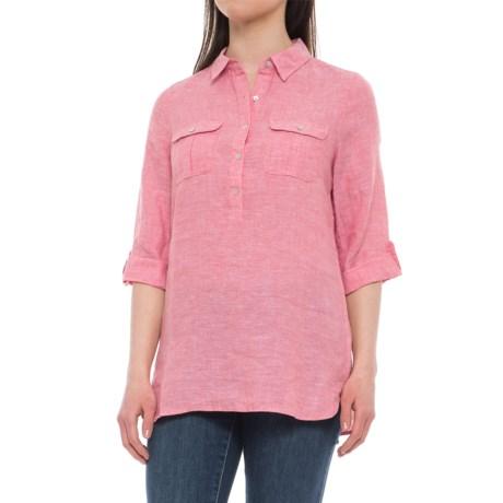 Jones New York Jones & Co. Partial-Button Linen Shirt - Rolled 3/4 Sleeve (For Women) in Pink Sands