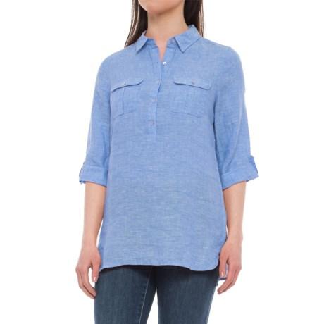 Jones New York Jones & Co. Partial-Button Linen Shirt - Rolled 3/4 Sleeve (For Women) in Sky High