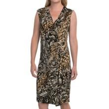 Jones New York Jungle Faux-Wrap Dress - V-Neck, Sleeveless (For Women) in Black Multi - Closeouts