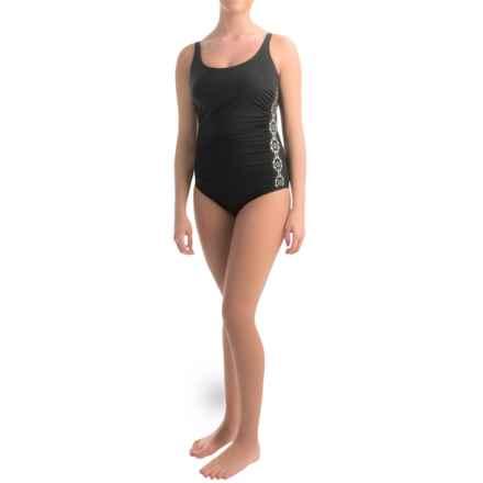 Jones New York Laser-Cut One-Piece Swimsuit (For Women) in Black - Overstock