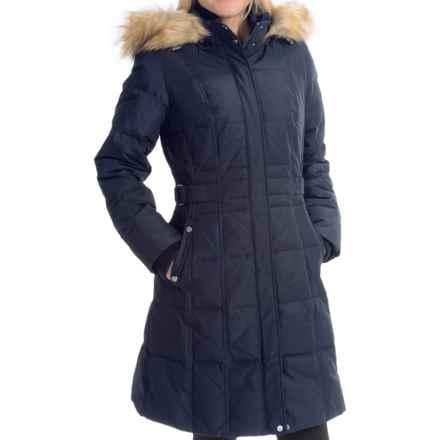 Jones New York Long Down Coat - Half Belt (For Women) in Navy - Closeouts