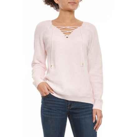 Jones New York Macaron White Lace-Up Sweater (For Women) in Macaron White - Closeouts