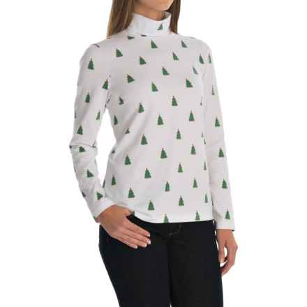 Jones New York Merry Christmas Tree Turtleneck - Long Sleeve (For Women) in White - Closeouts