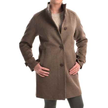 Jones New York Mock Neck Coat - Wool Bend (For Women) in Heather Brown - Closeouts