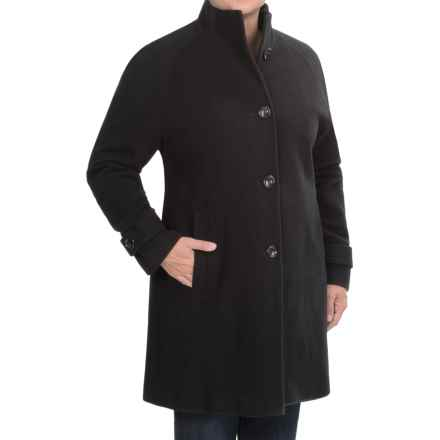 Jones New York Mock Neck Coat - Wool (For Plus Size Women) in Black - Closeouts