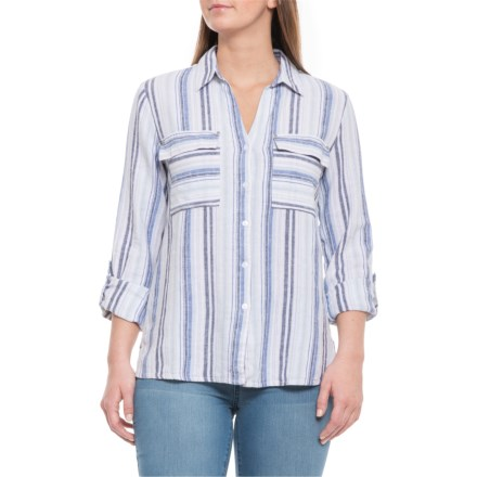 f834edd1d09 Jones New York Multi-Stripe Celestial Blue Handkerchief Hem Shirt - V-Neck,