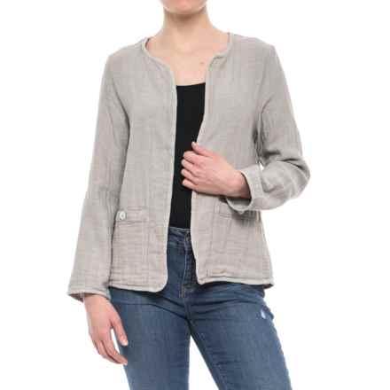 Jones New York Open-Front Jacket (For Women) in Jute/Port Stripe - Closeouts