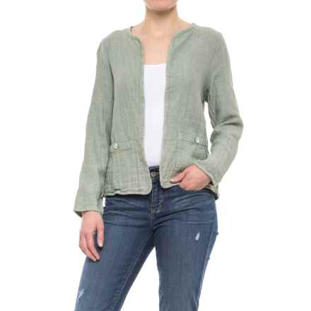 Jones New York Open-Front Jacket (For Women) in Olive/Port Stripe - Closeouts