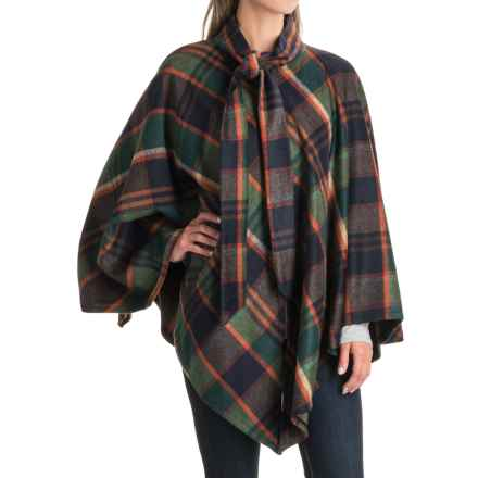 Jones New York Plaid Cape - Zip Front (For Women) in Green - Closeouts