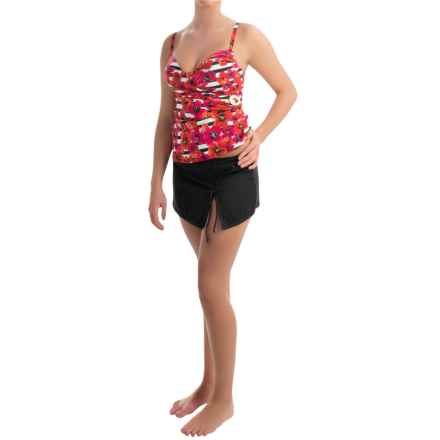 Jones New York Poppy Floral Tankini Set (For Women) in Coral Red/Black - Overstock