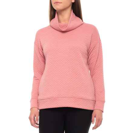 Jones New York Quilted Easy Pullover Shirt - Cowl Neck, Long Sleeve (For Women) in Blush - Closeouts