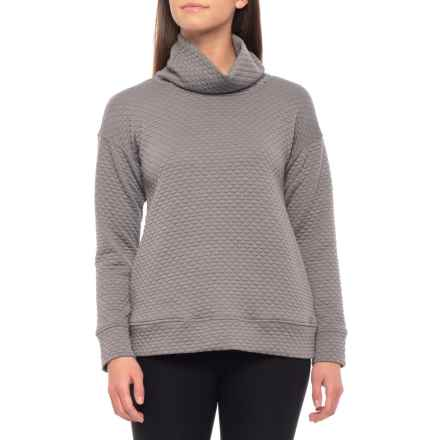 Jones New York Quilted Easy Pullover Shirt - Cowl Neck, Long Sleeve (For Women) in Pewter - Closeouts
