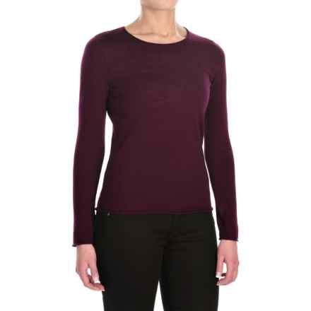 Jones New York Roll-Edge Light Sweater -  Merino Wool (For Women) in Blackberry - Closeouts