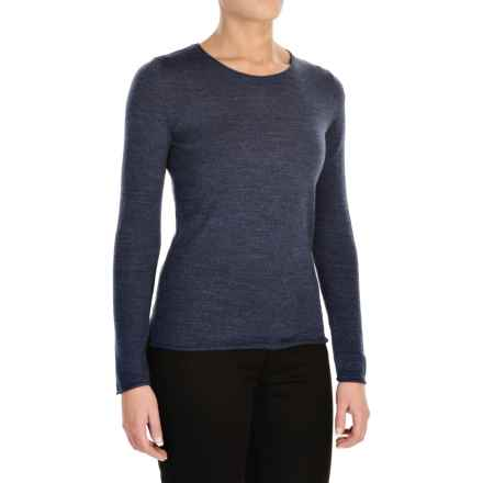 Jones New York Roll-Edge Light Sweater -  Merino Wool (For Women) in Indian Ink Marl - Closeouts