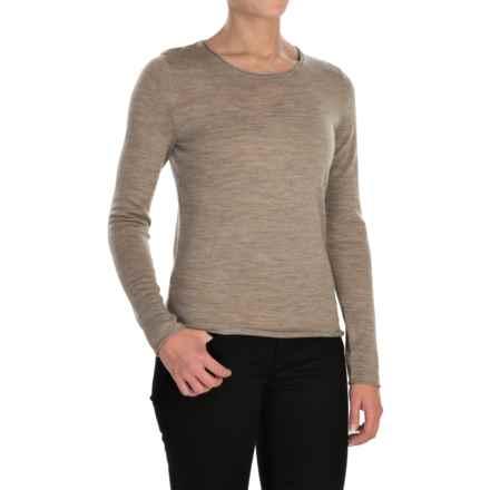 Jones New York Roll-Edge Light Sweater -  Merino Wool (For Women) in Nut Heather - Closeouts