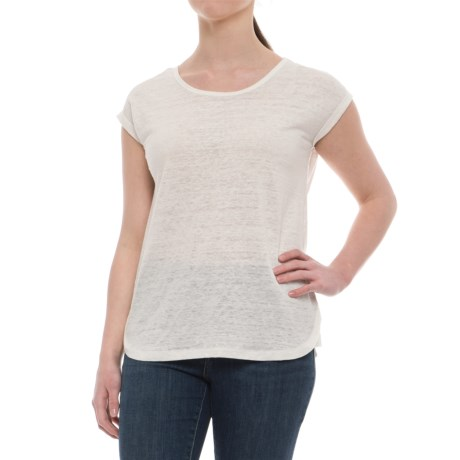 Jones New York Rolled Dolman Sleeve Shirt - Scoop Neck, Short Sleeve (For Women) in Oyster