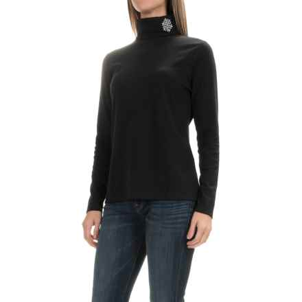 Jones New York Snowflake Turtleneck - Long Sleeve (For Women) in Black - Closeouts