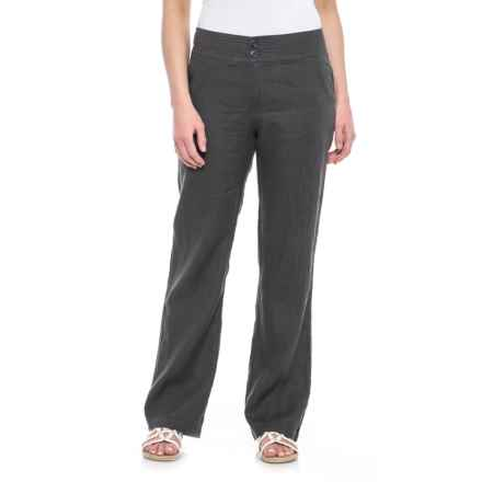 Jones New York Solid Fly-Front Pants - Linen (For Women) in Soot - Closeouts