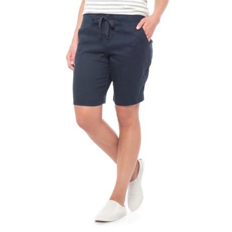 Jones New York Solid Linen Drawcord Shorts (For Women) in Navy Seas