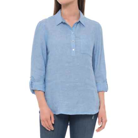 Jones New York Solid Linen Popover Shirt - Long Sleeve (For Women) in Sky High - Closeouts