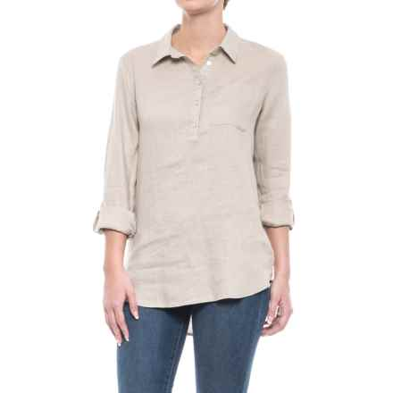 Jones New York Solid Linen Popover Shirt - Long Sleeve (For Women) in Soft Khaki - Closeouts