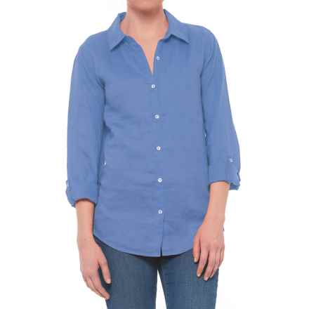 Jones New York Solid Roll-Tab Shirt - Linen, Long Sleeve (For Women) in Sky High - Closeouts