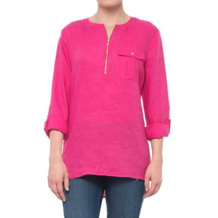 Jones New York Solid Zip Neck Tunic Shirt - Linen, Long Sleeve (For Women) in Pink Parrot - Closeouts