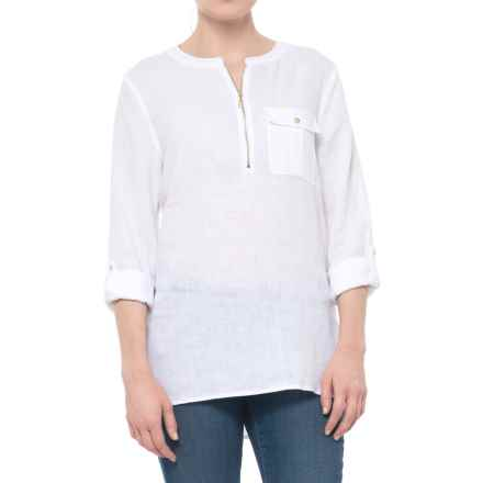 Jones New York Solid Zip Neck Tunic Shirt - Linen, Long Sleeve (For Women) in White - Closeouts