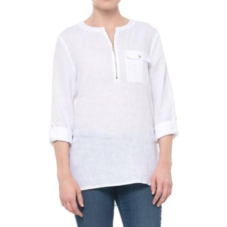 Jones New York Solid Zip Neck Tunic Shirt - Linen, Long Sleeve (For Women) in White