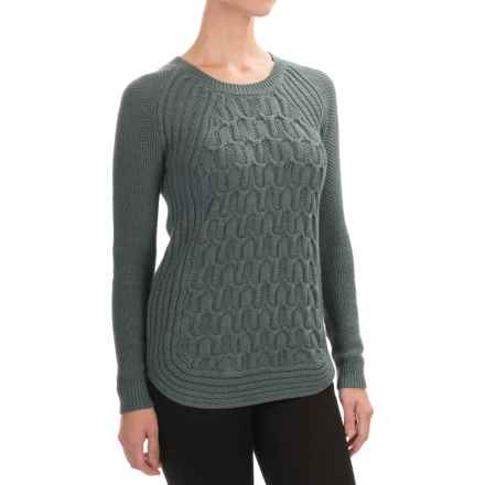 Jones New York Textured Cotton Sweater (For Women) in Green Slate Heather - Closeouts