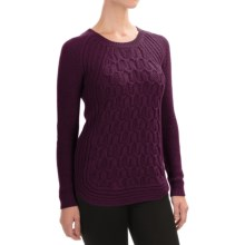 Jones New York Textured Cotton Sweater (For Women) in Wine Heather Ly - Closeouts