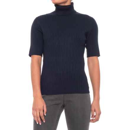 Jones New York Turtle Neck Shirt with Mixed Ribs - 3/4 Sleeve (For Women) in Navy - Closeouts