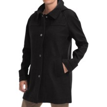 Jones New York Wool Blend Coat - Detachable Hood (For Women) in Black - Closeouts