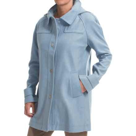 Jones New York Wool Blend Coat - Detachable Hood (For Women) in Blue - Closeouts