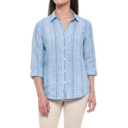Jones New York Yarn-Dyed Stripe Linen Shirt - Long Sleeve (For Women) in Blue Skinny Stripe - Closeouts