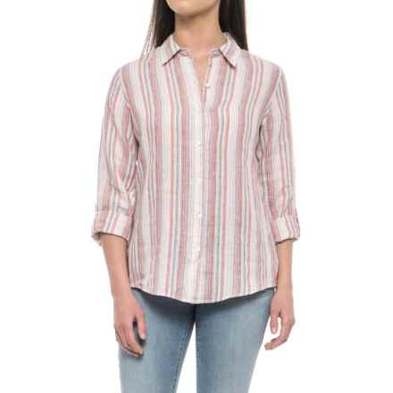 Jones New York Yarn-Dyed Stripe Linen Shirt - Long Sleeve (For Women) in Red Woven Stripe - Closeouts